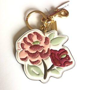 Coach Floral/ Flower Bag Charm Keyring